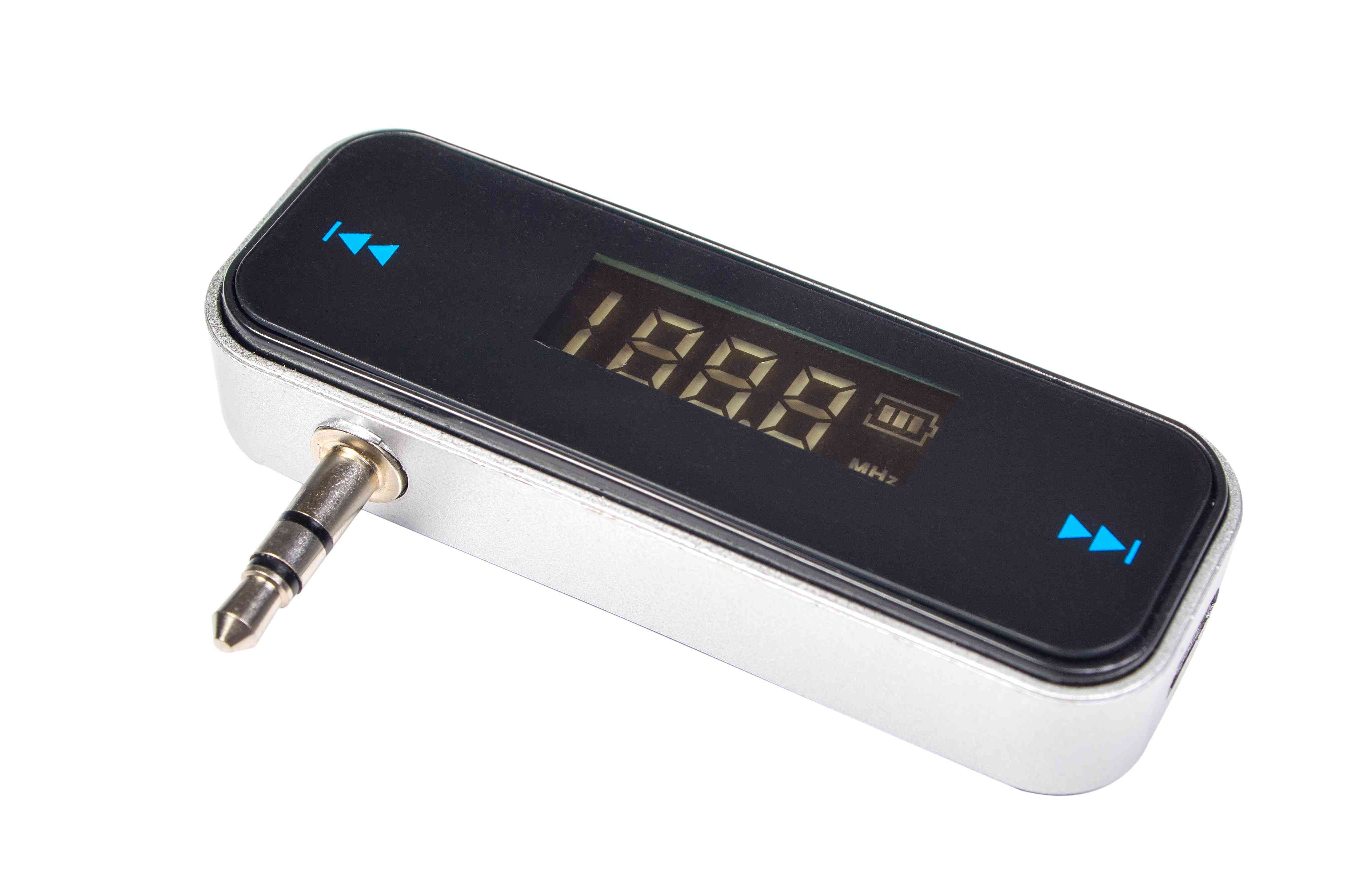 An FM transmitter with an audio plug and adjustable frequency