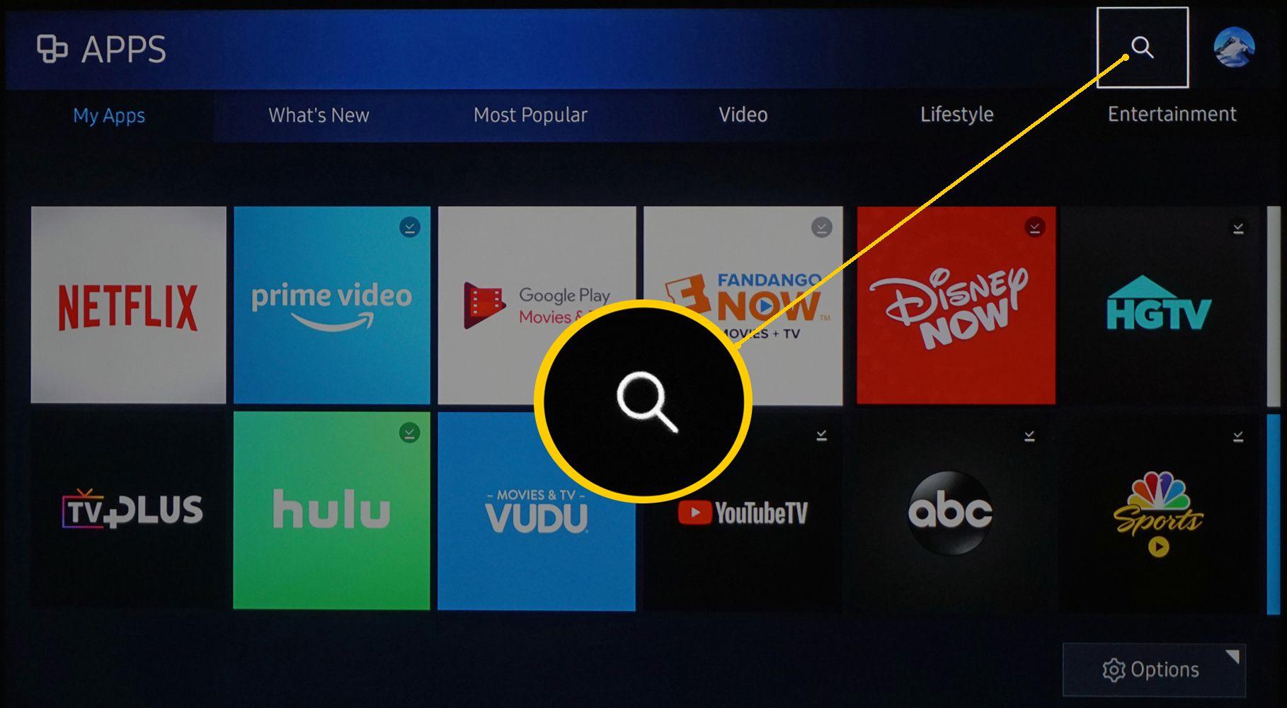 Samsung Smart TV App Search Icon
