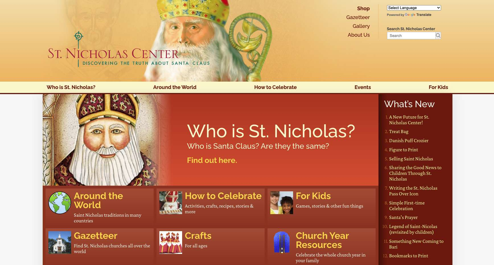 St. Nicholas Center Website for learning about the real Santa Claus