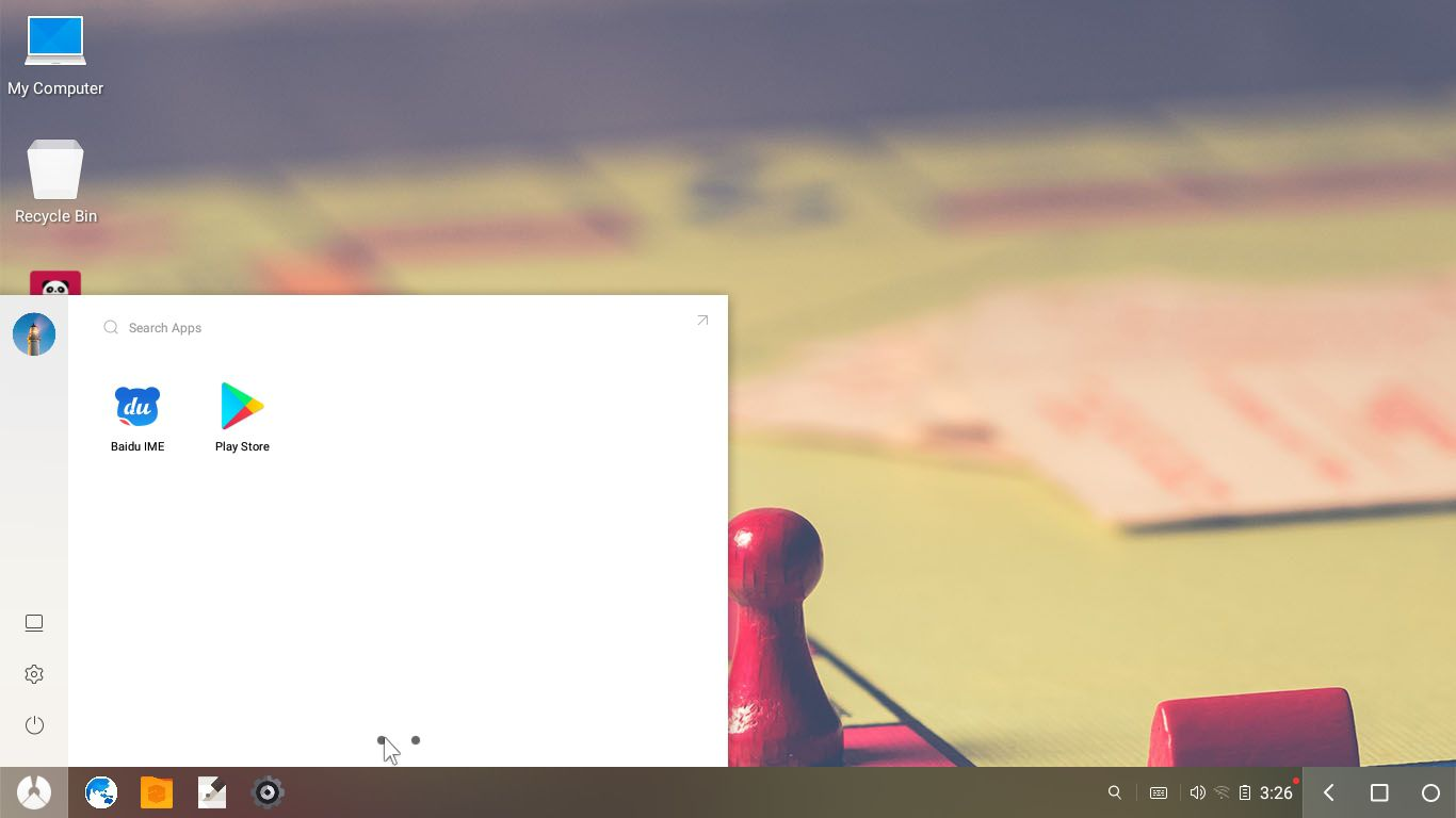 Select the Menu icon in the bottom-left corner of the desktop to see your apps.