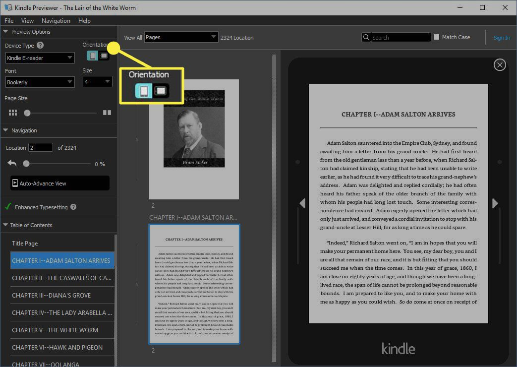 Select the Orientation that will be used when reading the book, either Portrait or Landscape.