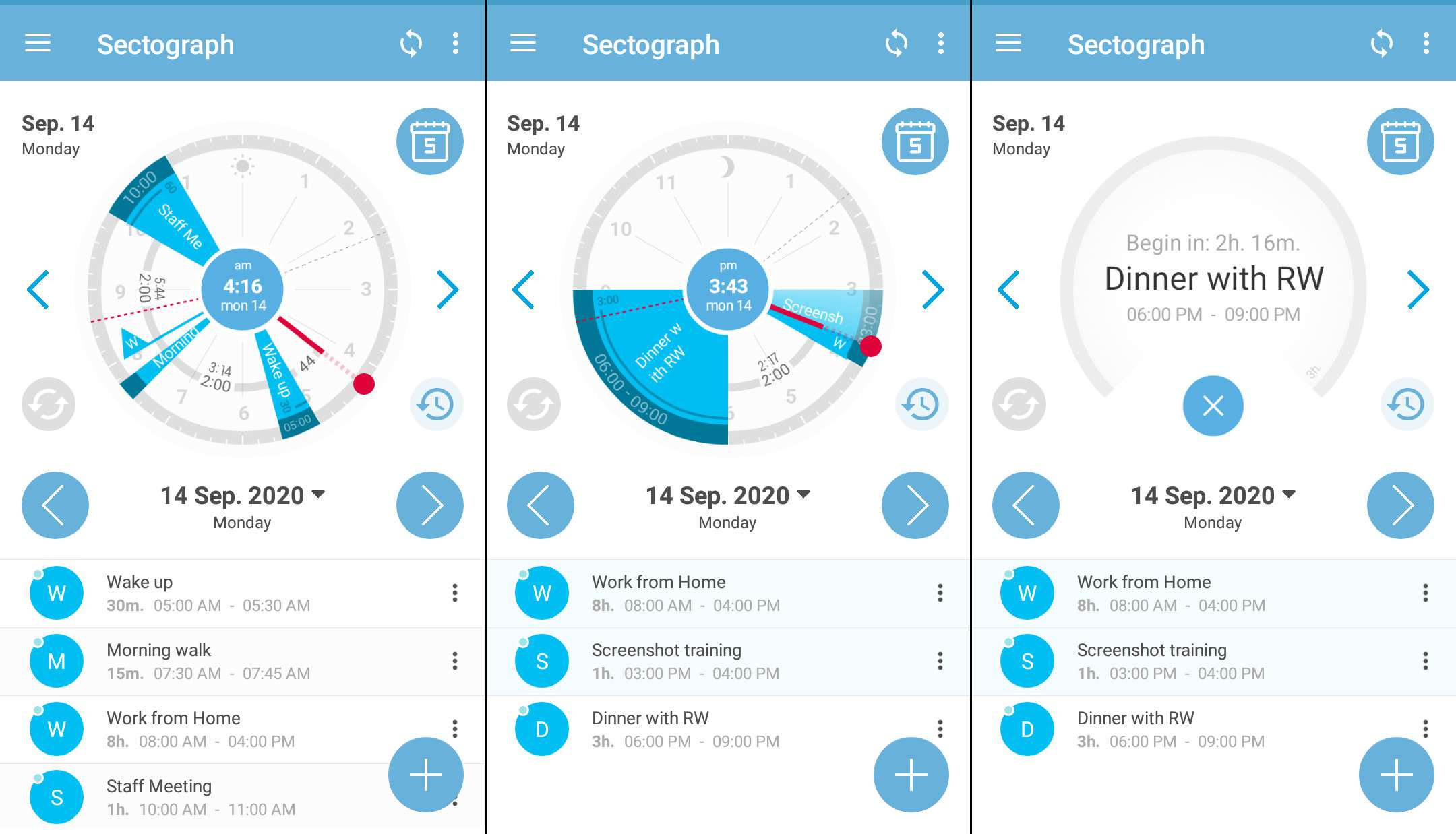 View calendar events visually with Sectograph