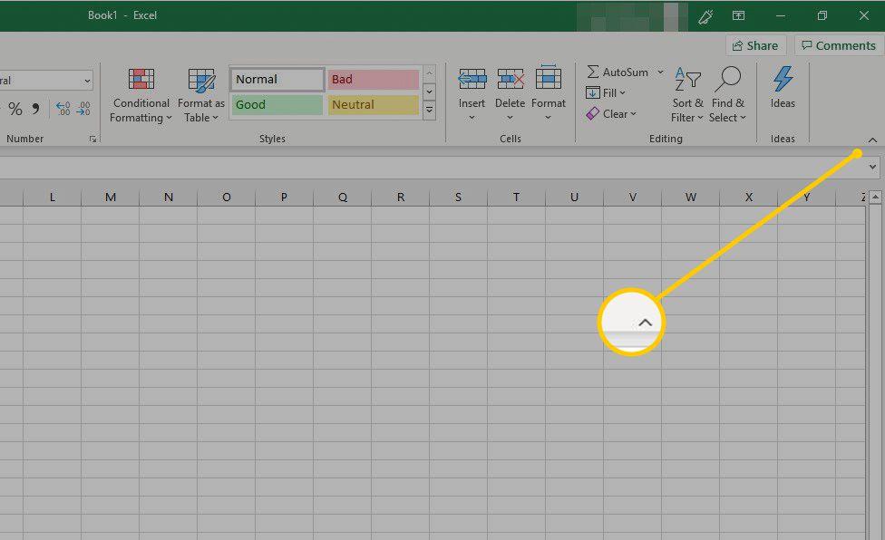 Close ribbon arrow in Excel