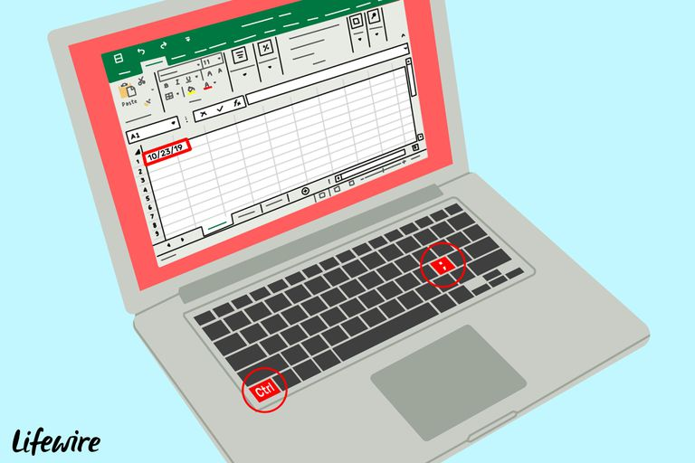 Illustration of Control and semicolon keys on a laptop with the current date in Excel