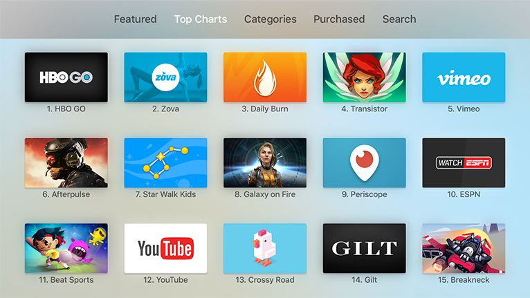 The Top Charts tab in the Apple TV App Store.