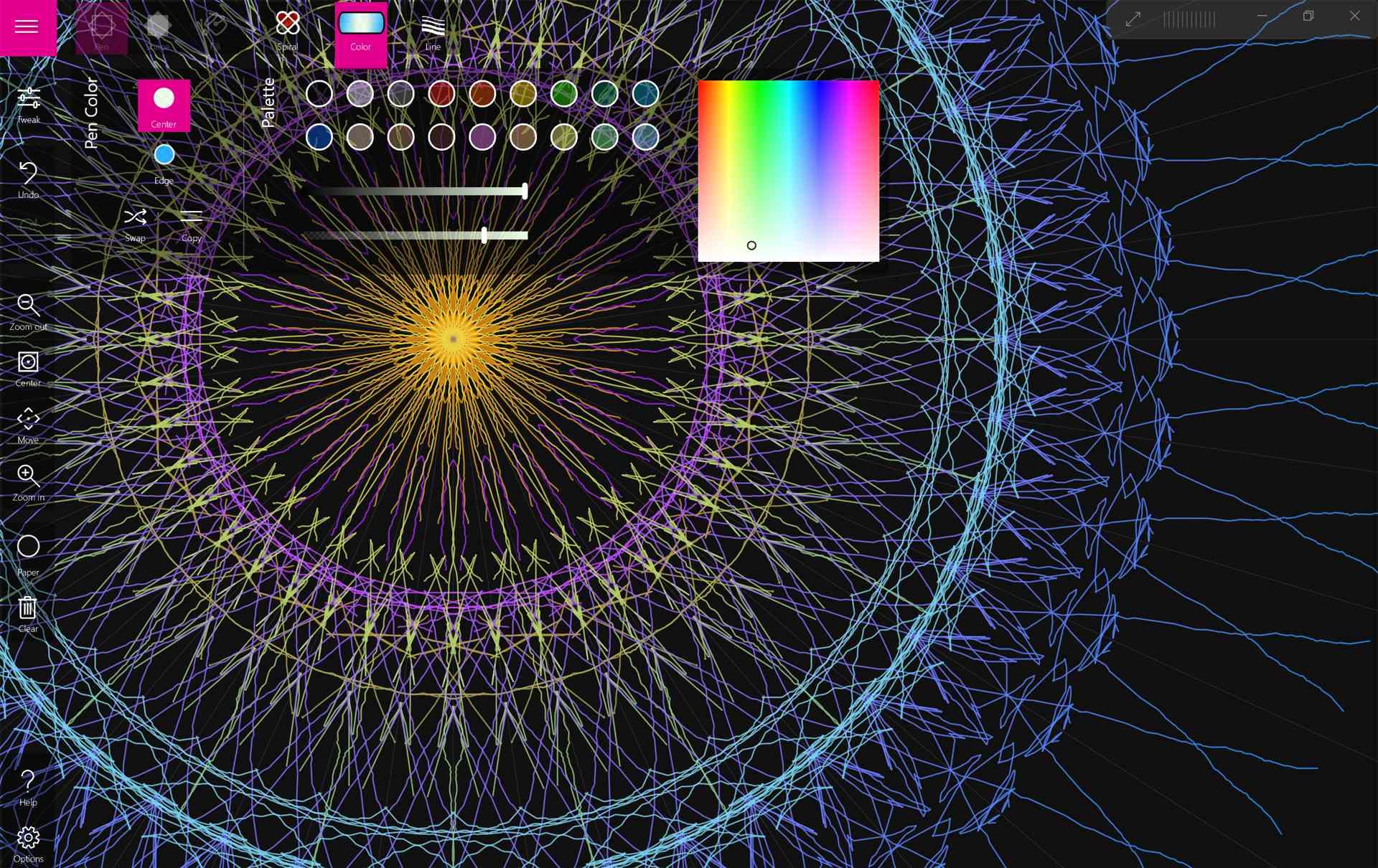 Spirality mandala drawing app for Surface Pro.