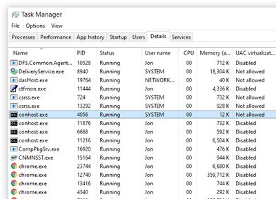 conhost files in Windows 10 Task Manager