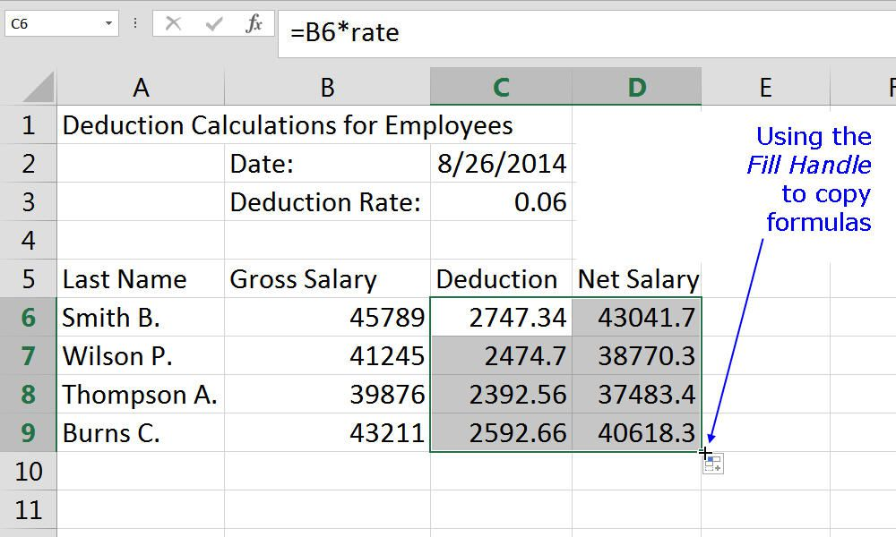 Using the Fill Handle to copy formulas in an Excel worksheet