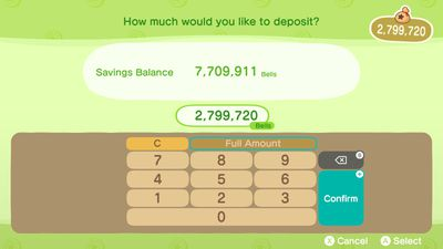 Money in Animal Crossing in the form of Bells deposited to the Bank of Nook.