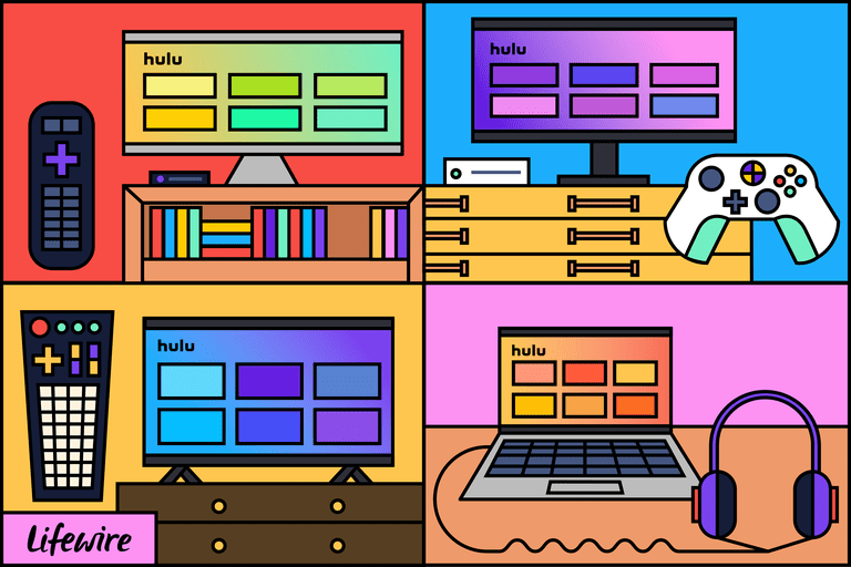 Illustration of Hulu on various screens, including TV, game console, and laptop