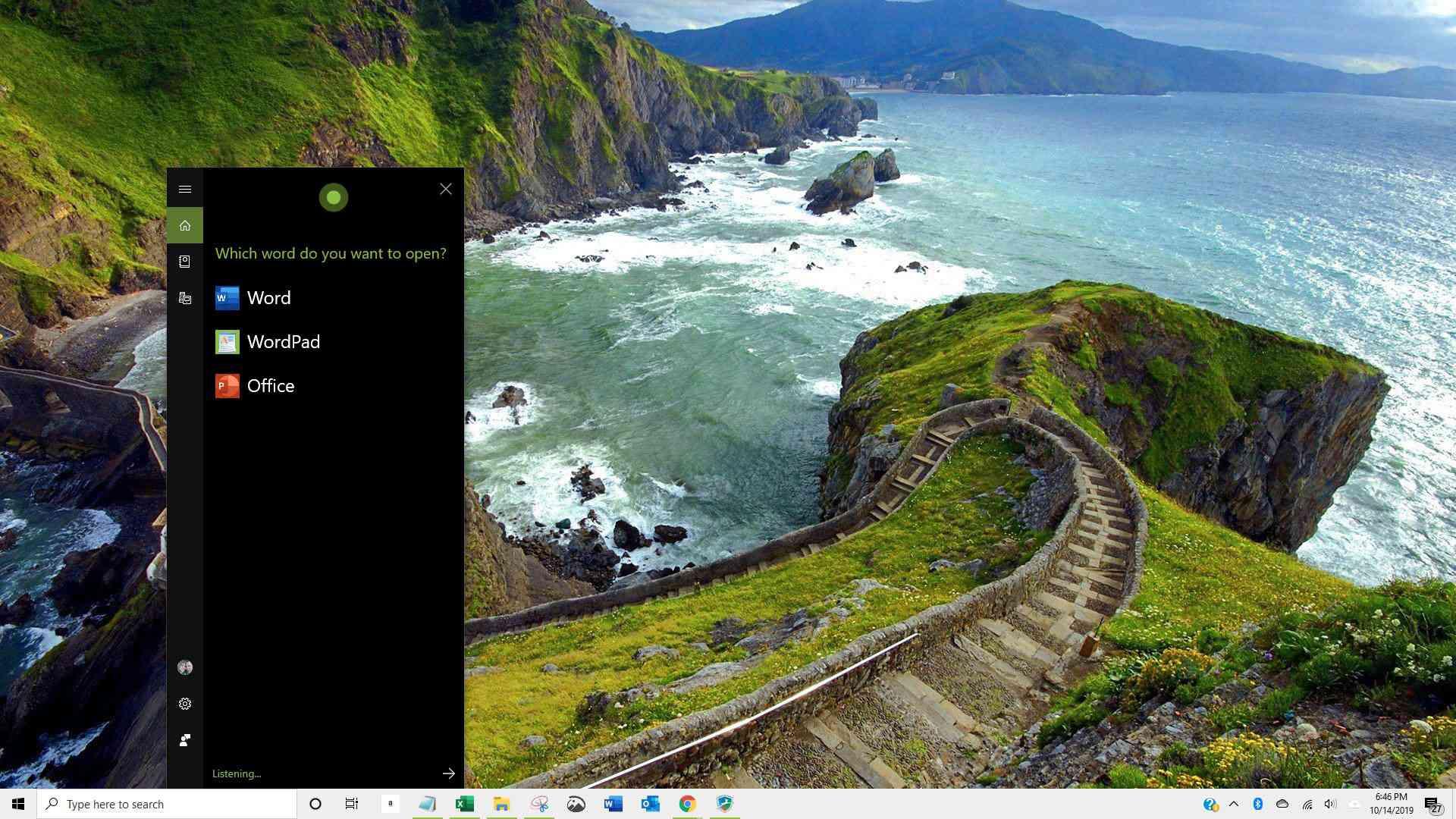 Screenshot of Cortana responding to request to open Word