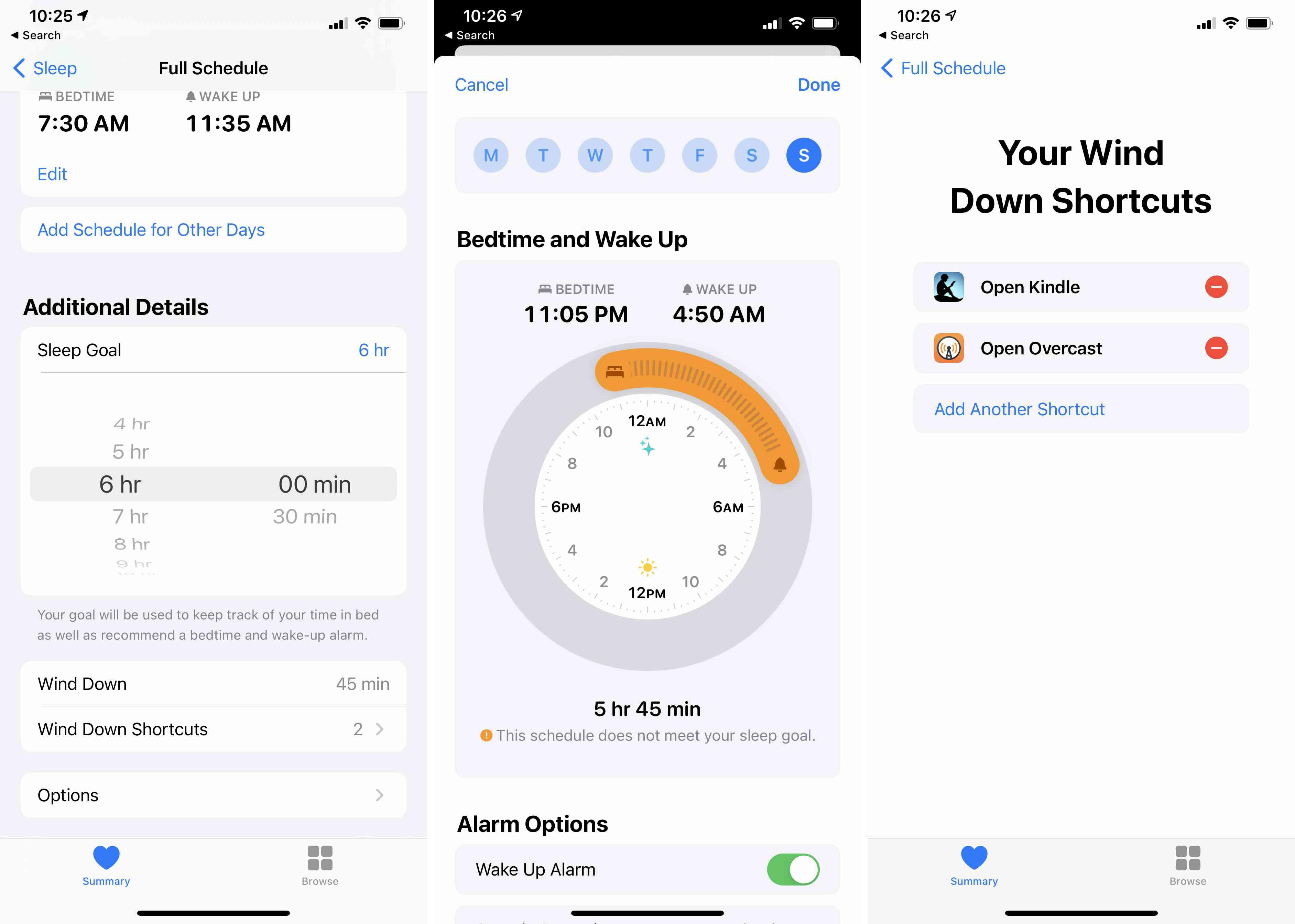 The Health app showing sleep setup.