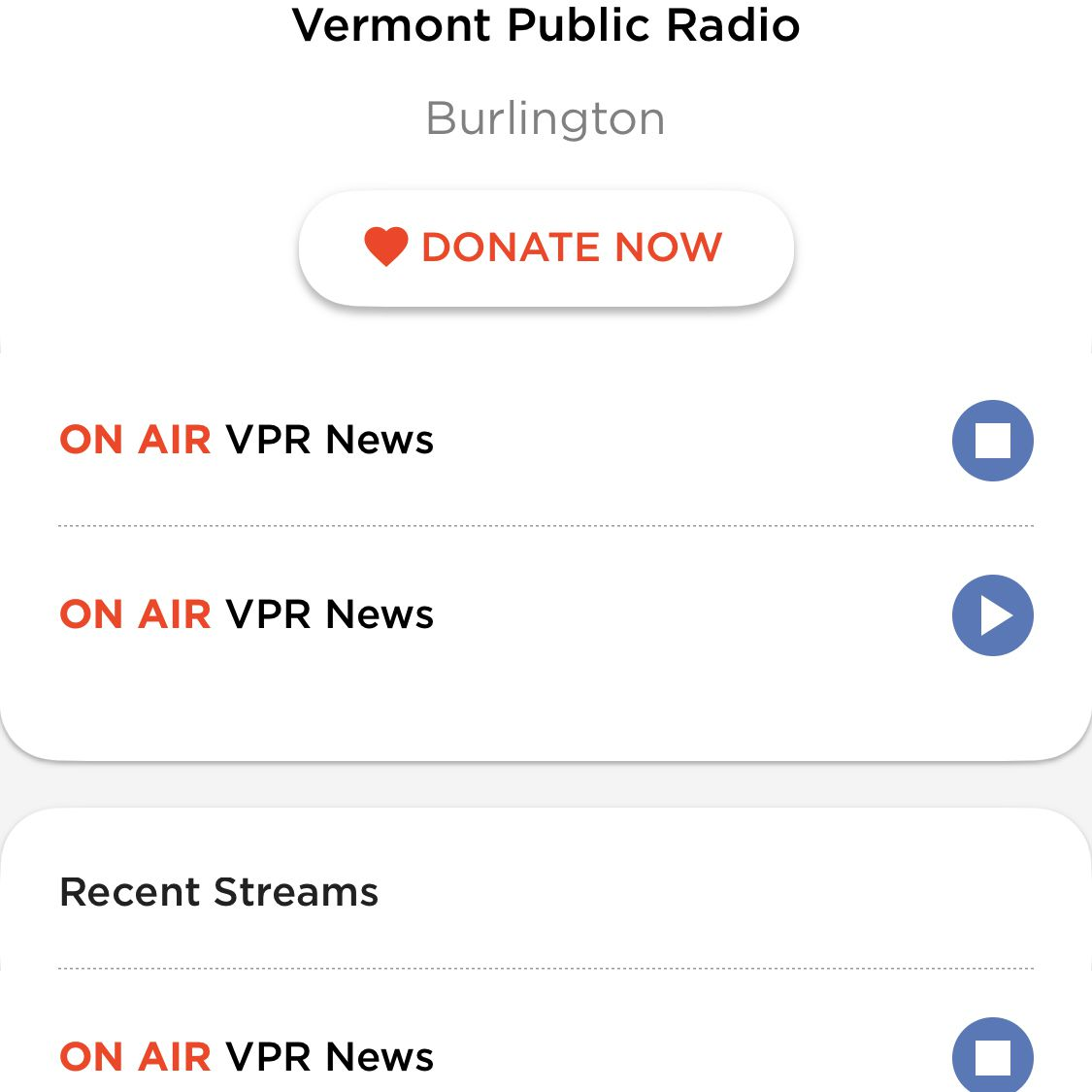 screenshot of NPR News app