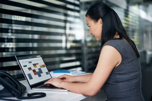 Woman working with online calendar