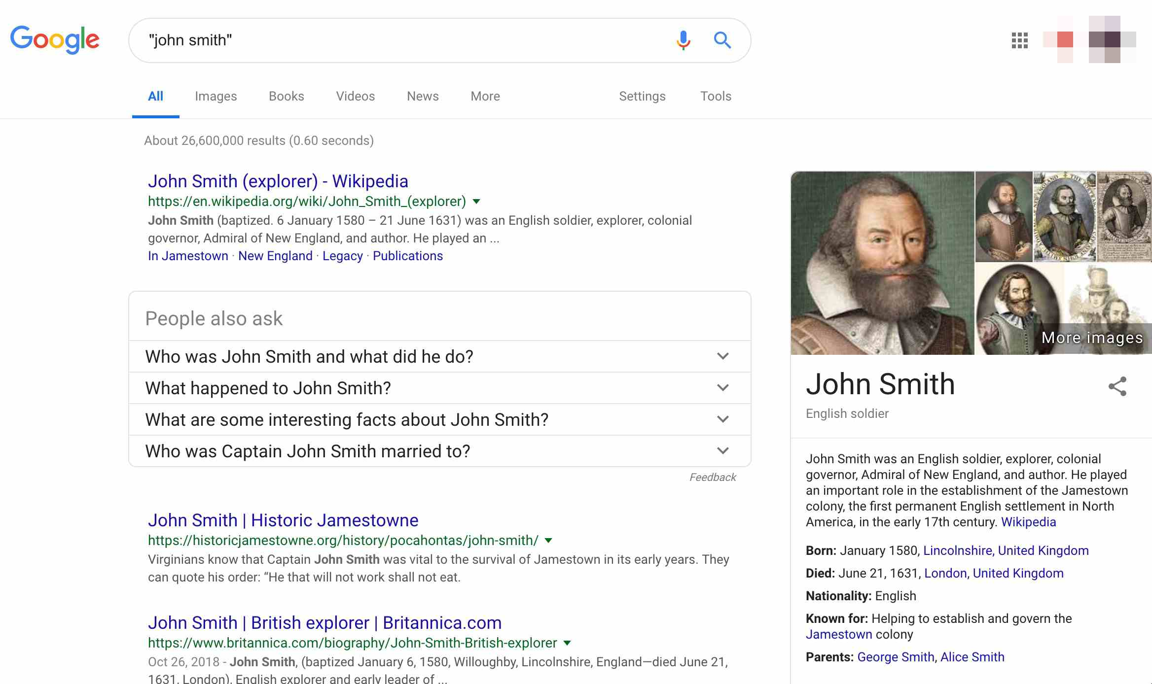 Google results page for