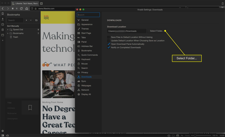 The Select Folder button in Vivaldi download settings