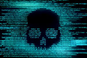 Image of a human skull representing a computer virus in code.