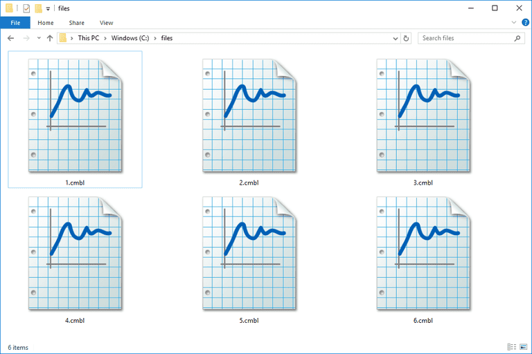 Screenshot of several CMBL files in Windows 10 that open with Logger Pro