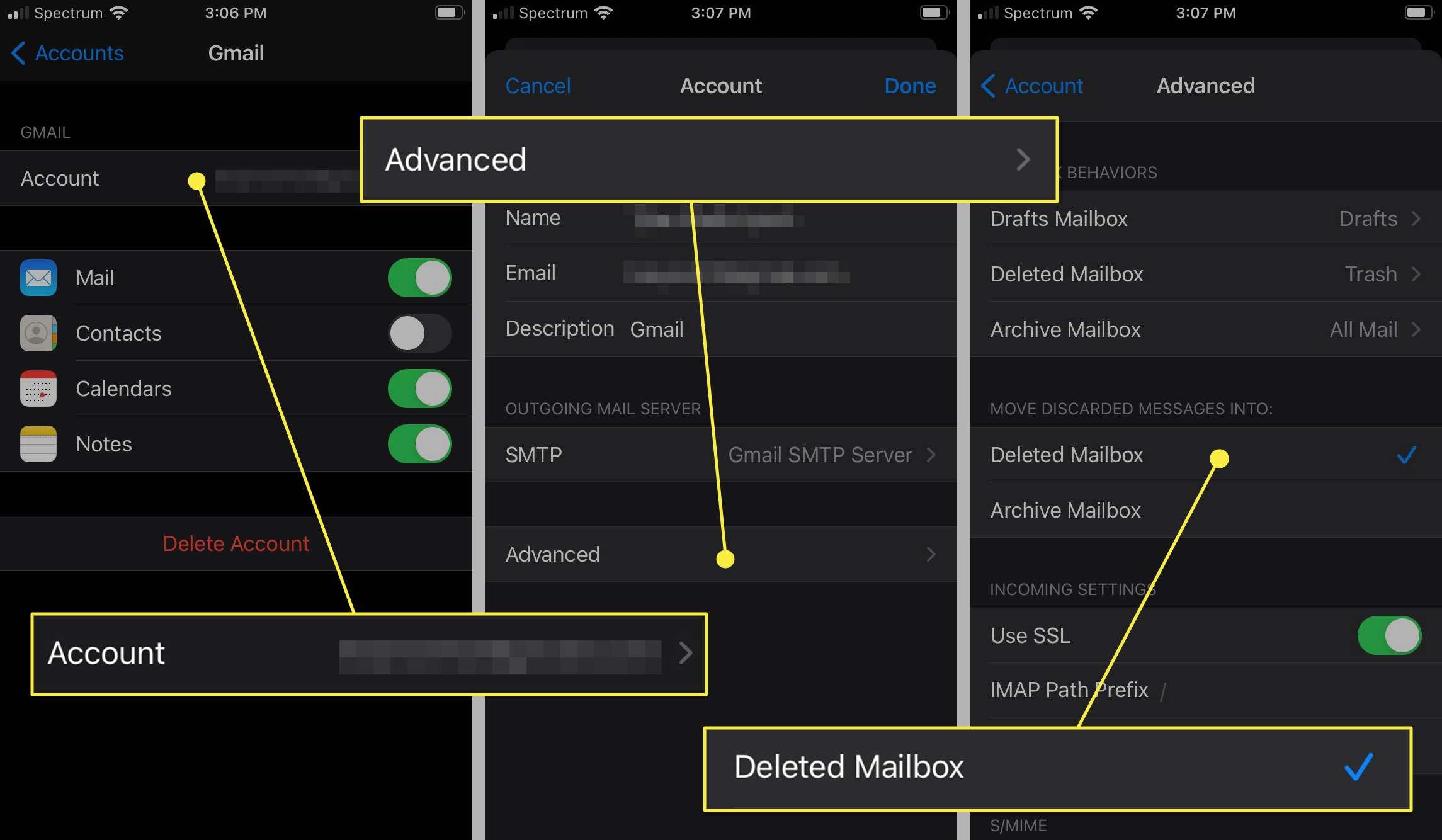 iOS Mail swipe delete