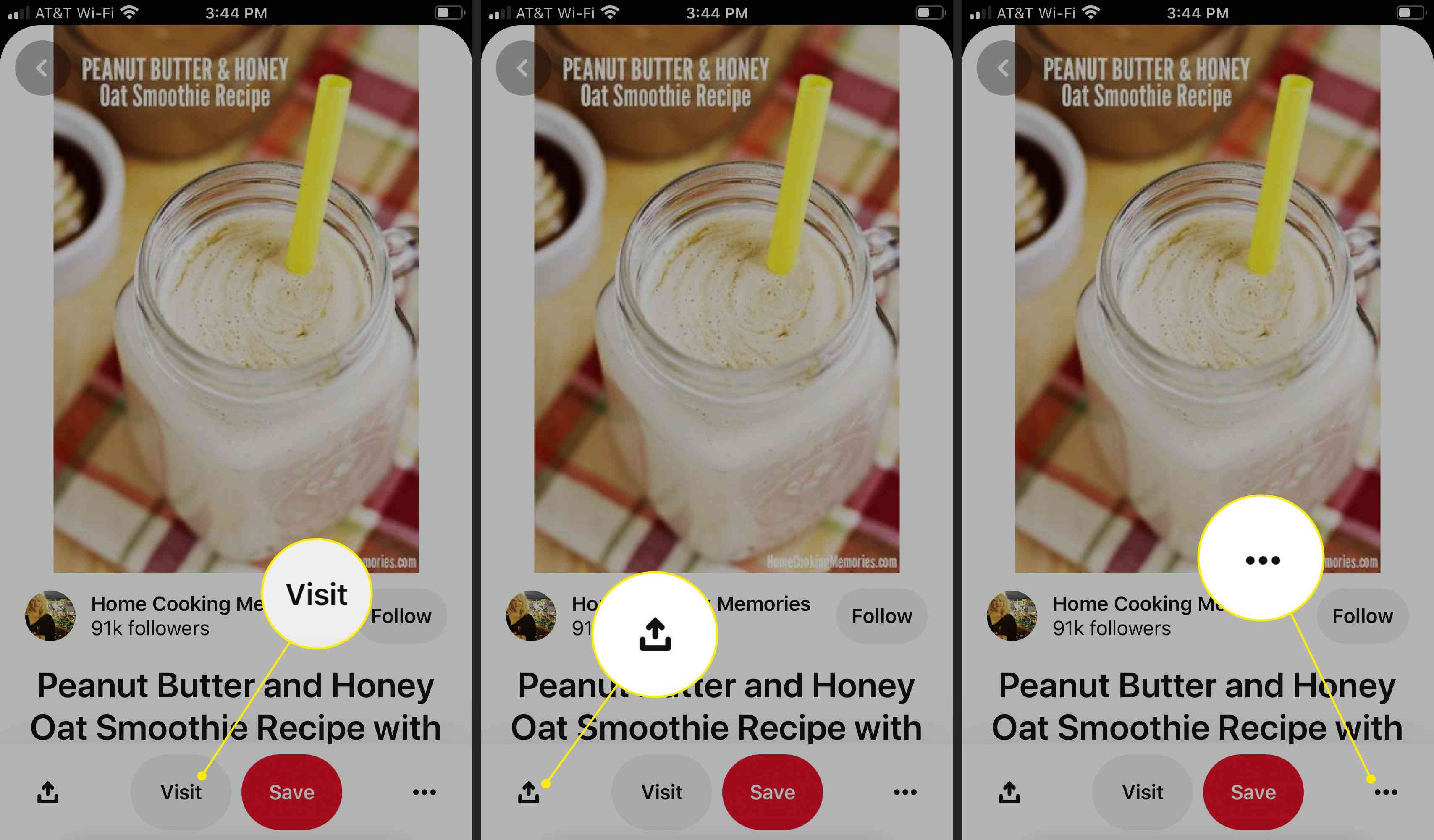 The Visit, Share, and More menus for a pin on Pinterest