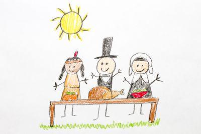 Kids drawing of Thanksgiving