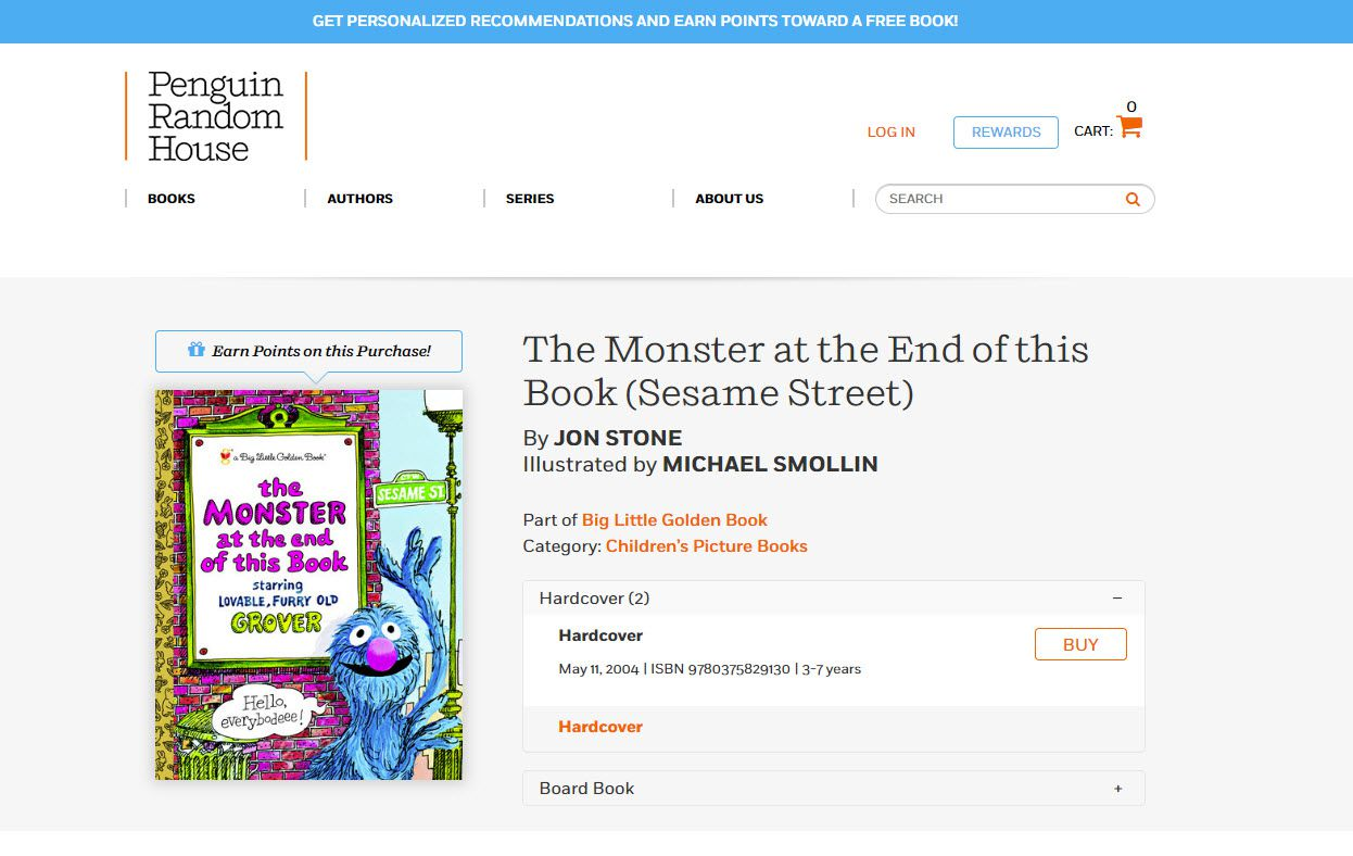 The Penguin Random House Listing for the Monster at the End of This Book.