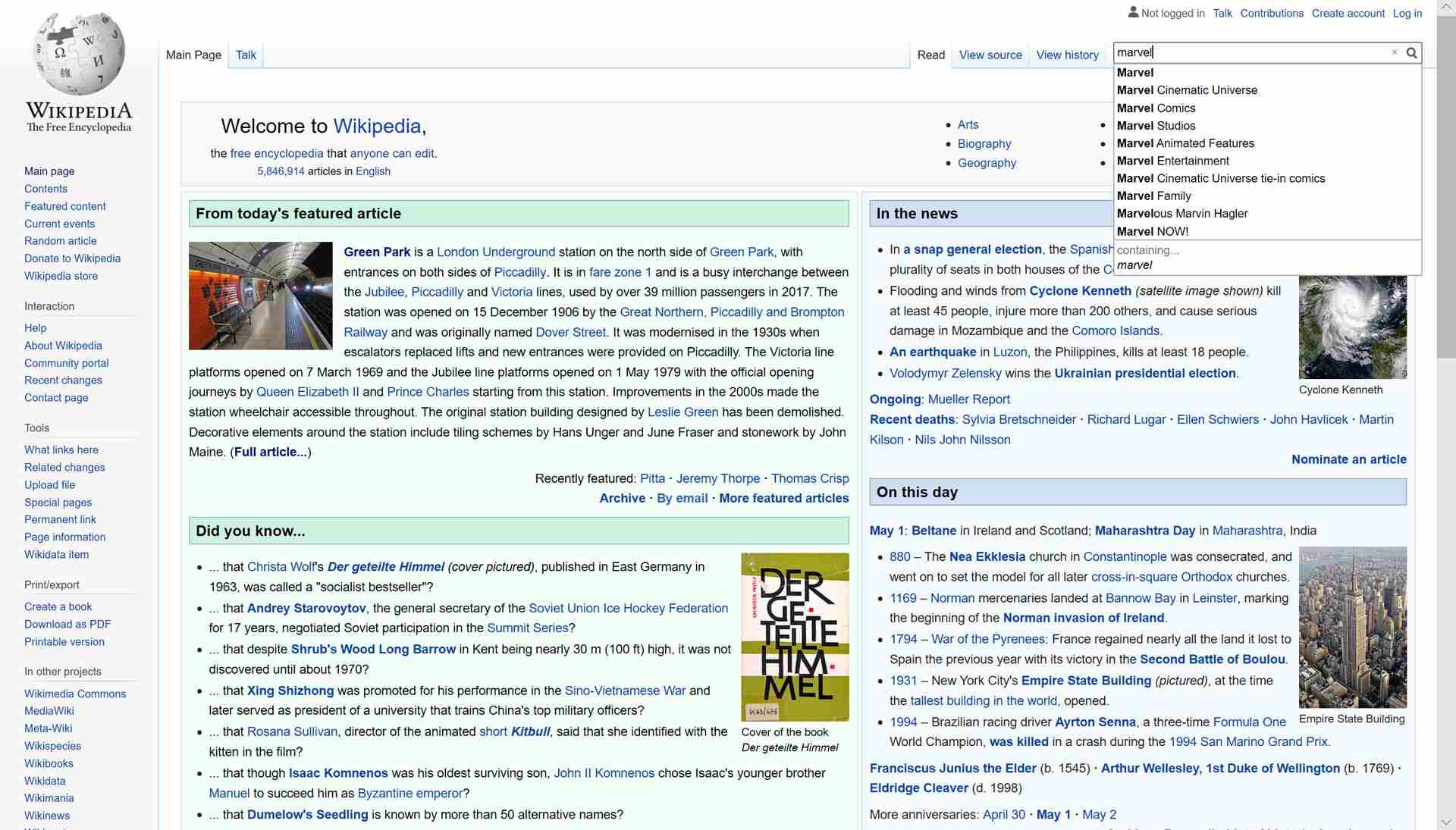 Wiklipedia search suggestions.