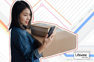 Photo composite of a woman holding packages looking at her phone.