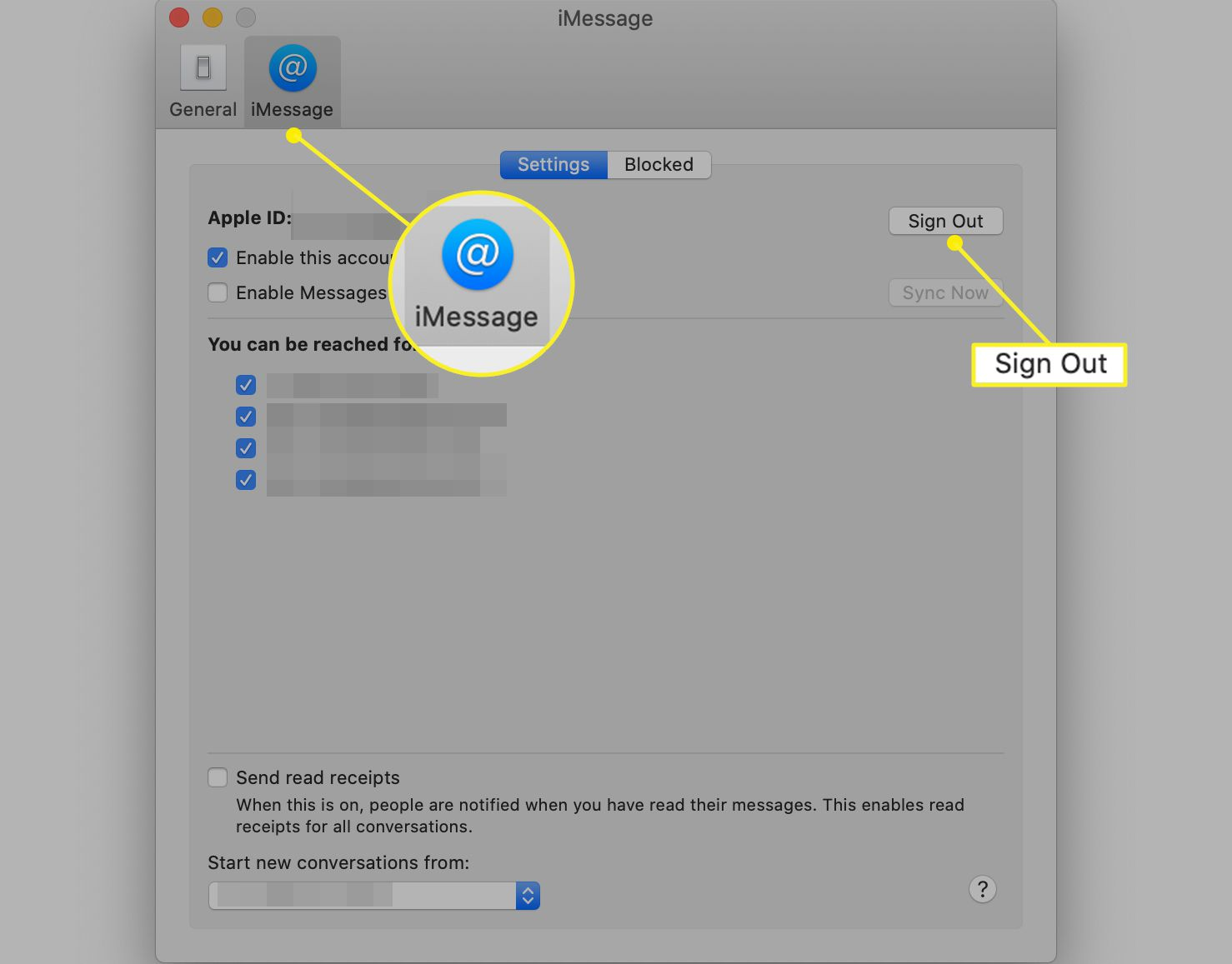 iMessage preference screen with Sign Out highlighted