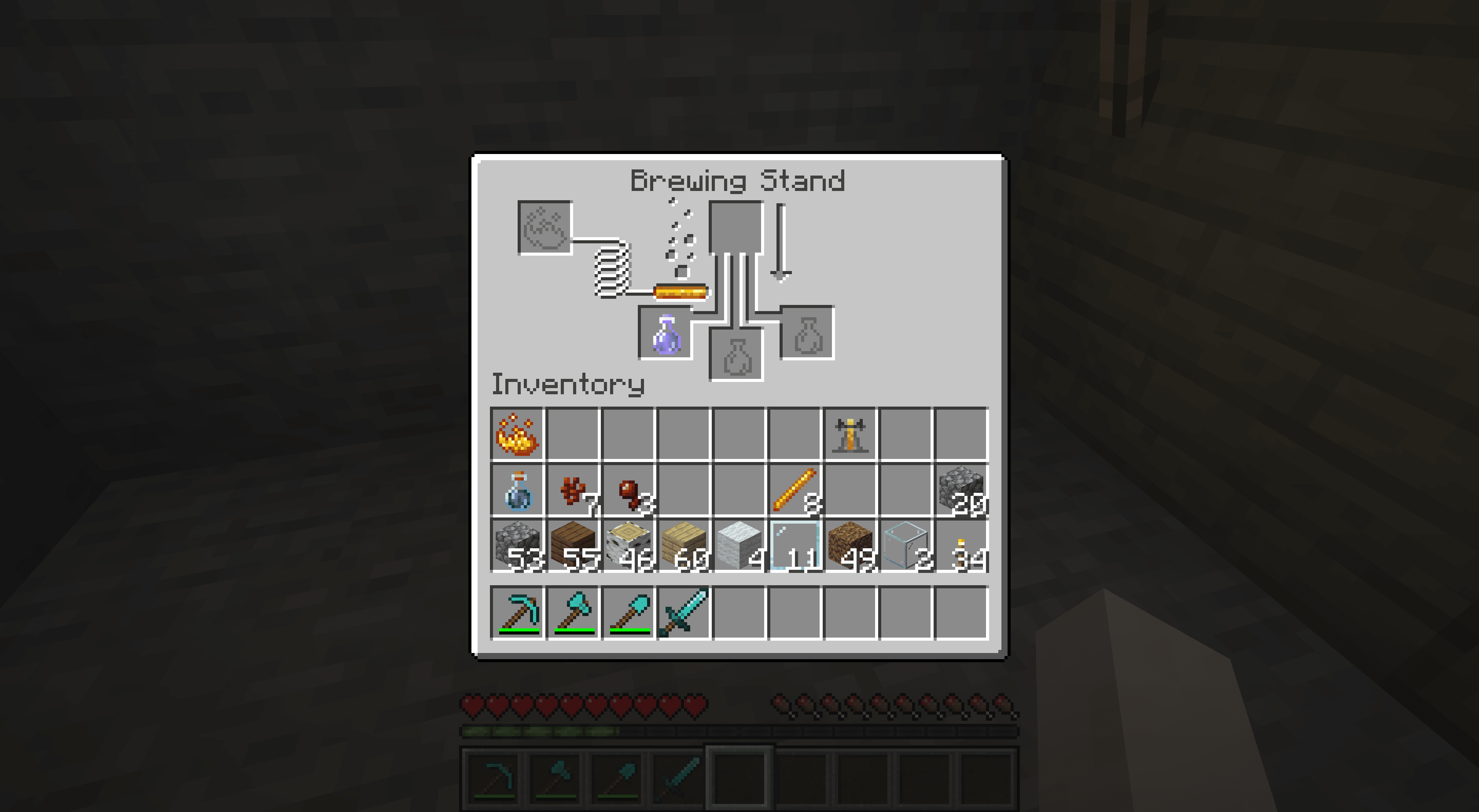 A poison potion in a brewing stand in Minecraft.