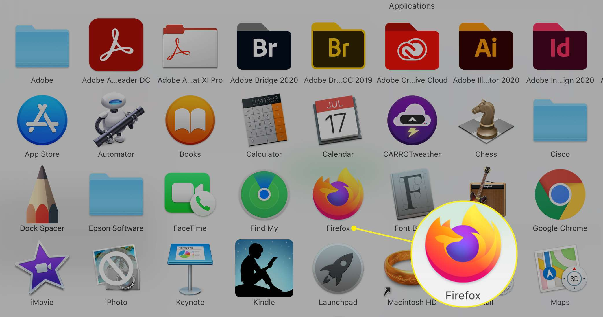 macOS Applications folder with FIrefox app highlighted