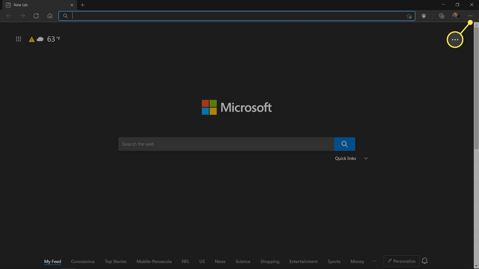 MS Edge's main menu button highlighted.