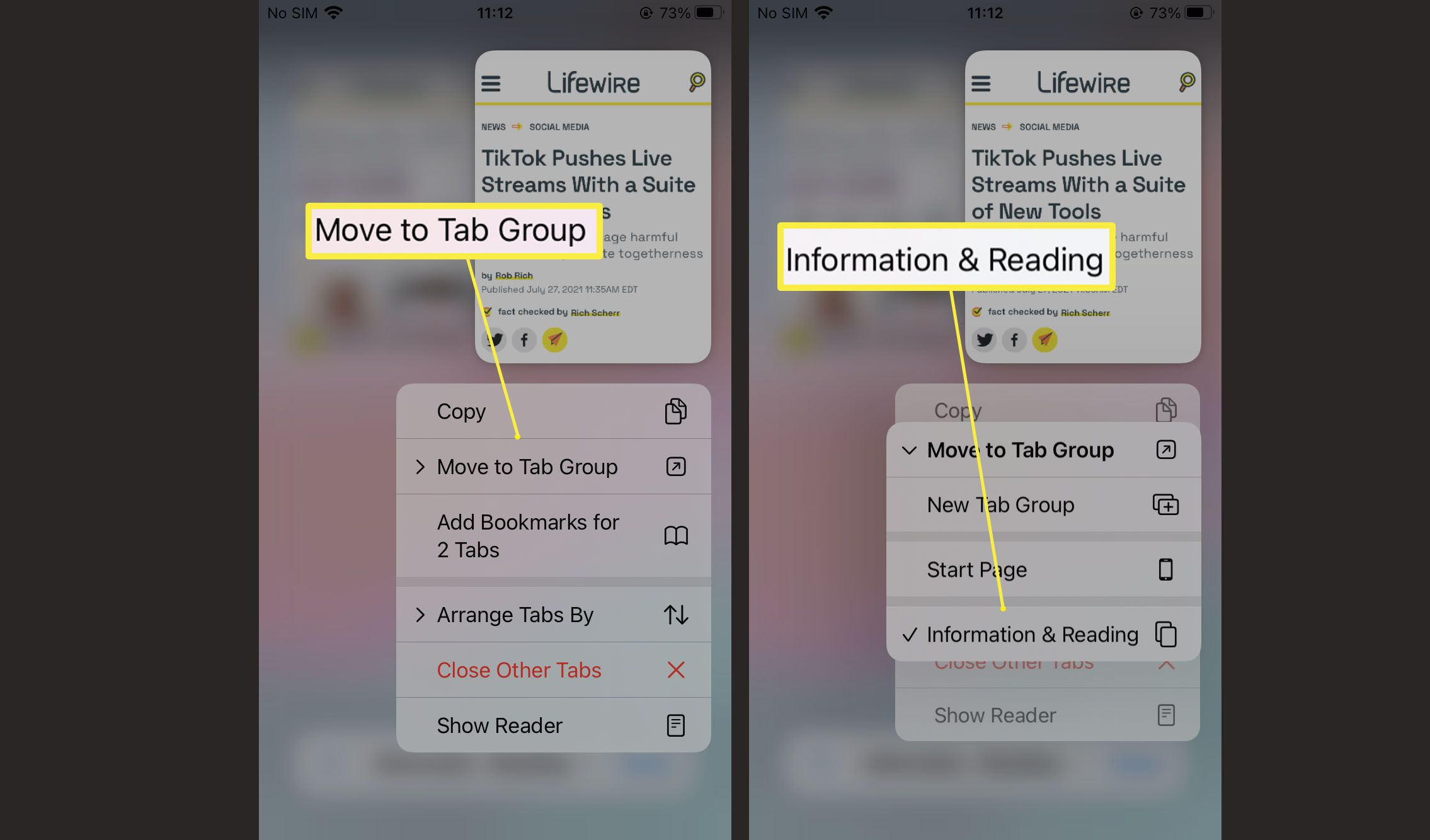 Steps needed to move tabs to tab group in Safari on iOS 15