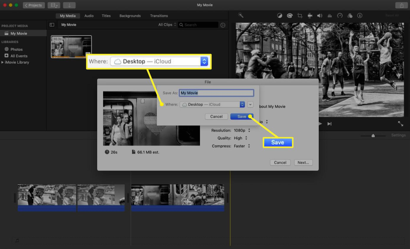iMovie file export with the export options highlighted.
