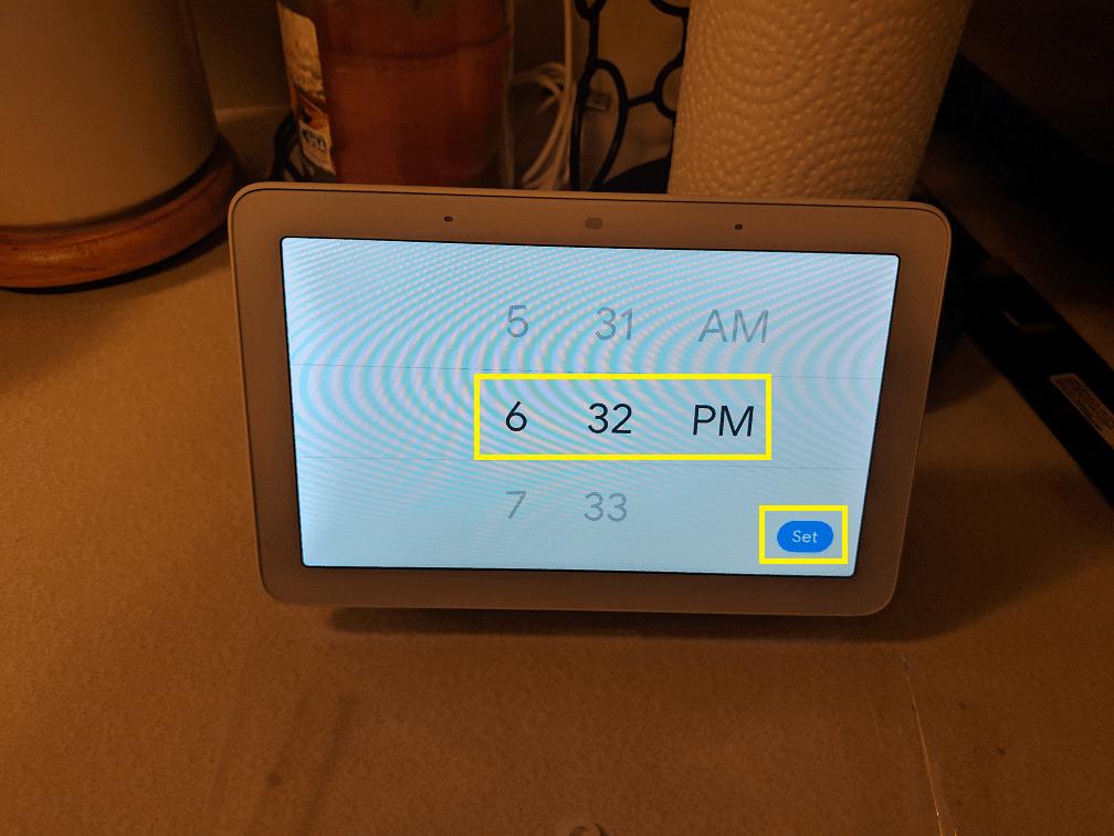 Set alarm time on Google Home Hub.