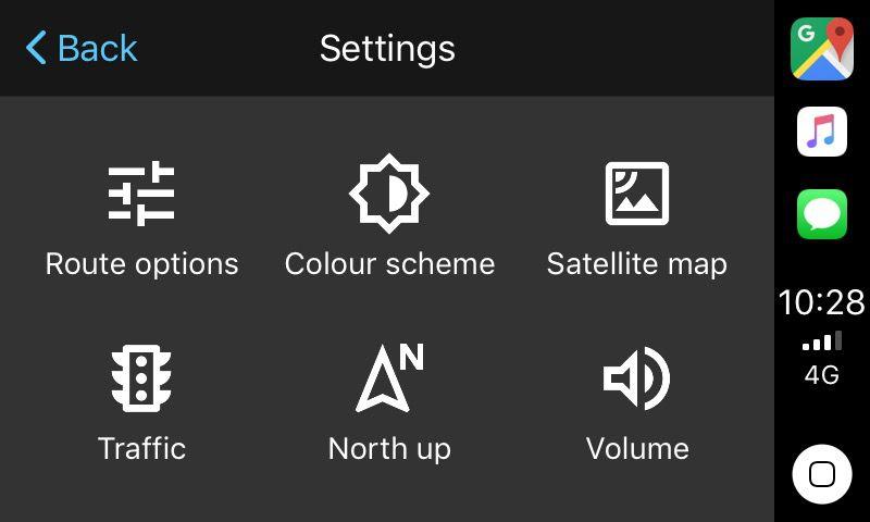 Google Maps on CarPlay's Settings Screen
