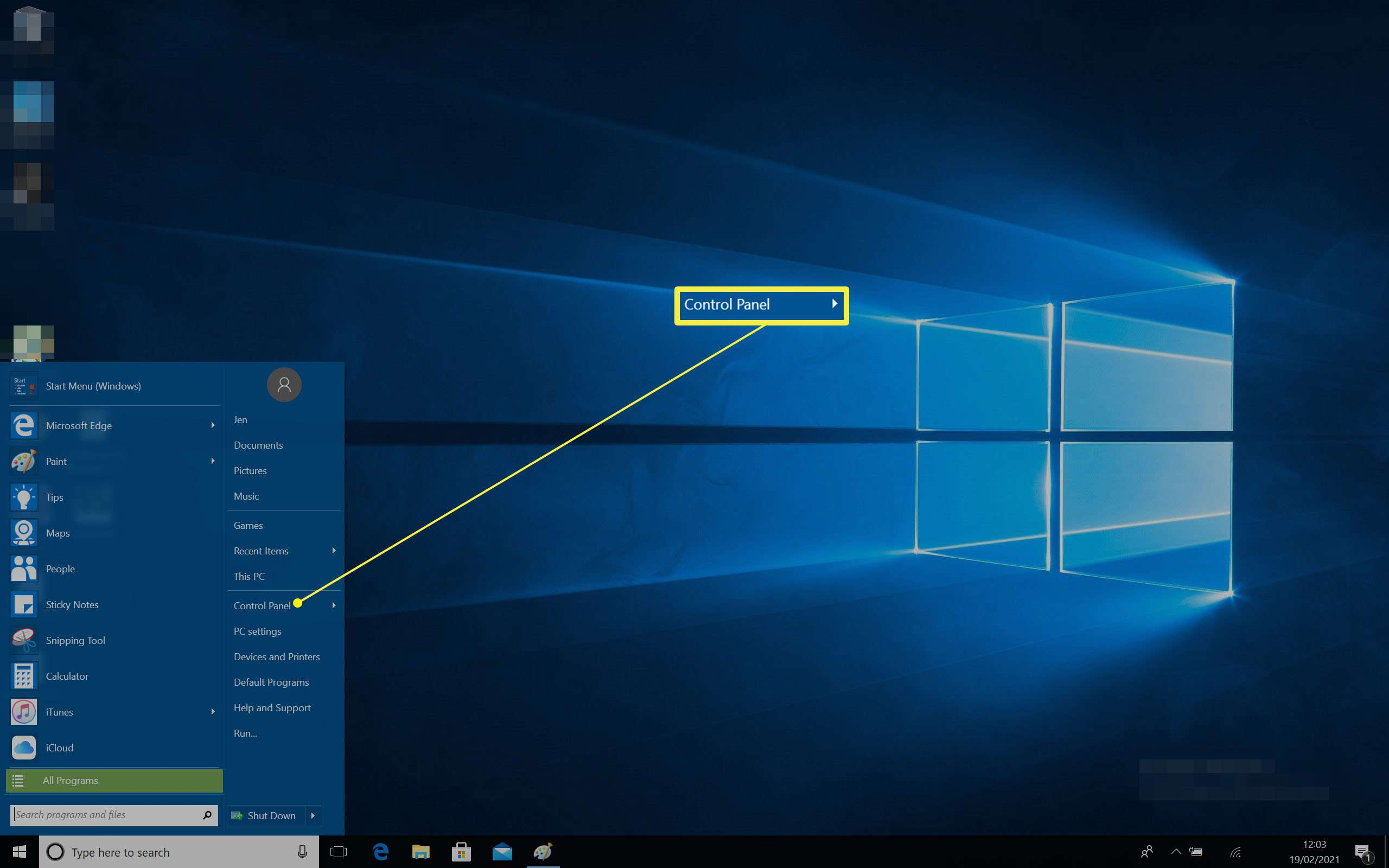 Windows 10 desktop with Start Menu open and Control Panel highlighted
