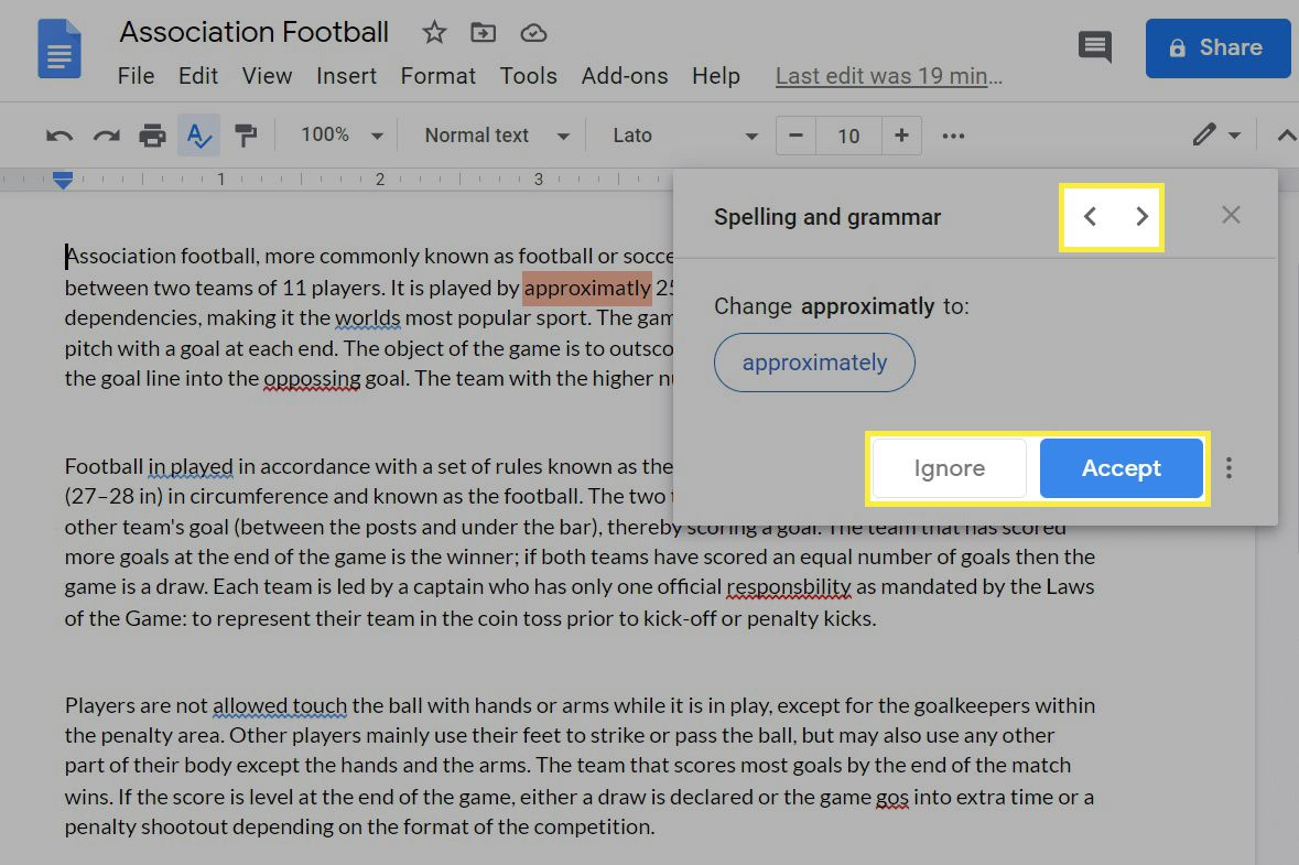 Spell check suggestion box in Google Docs.