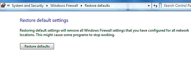 Windows firewall settings screenshot