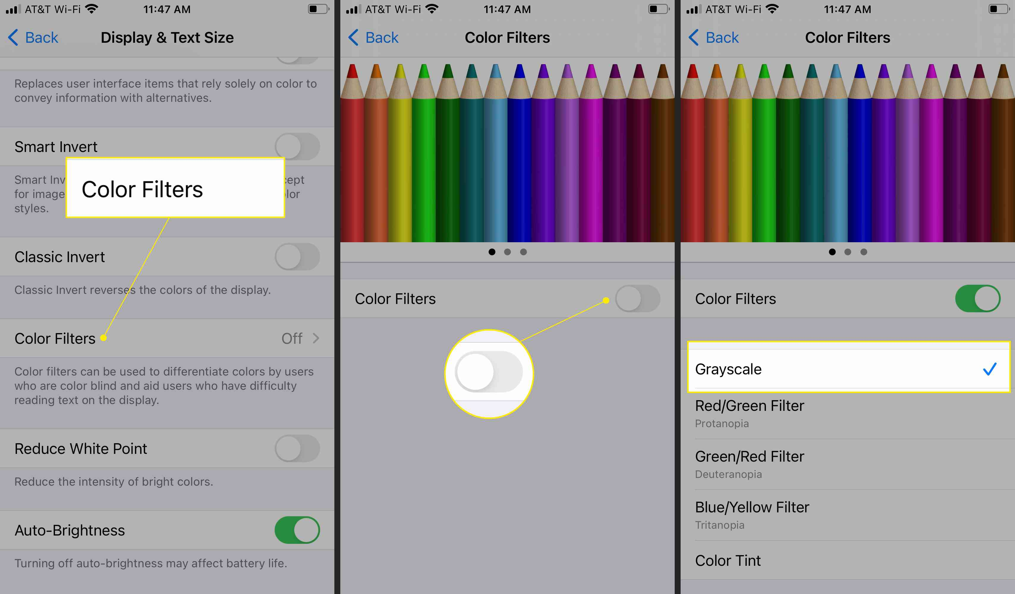 Color Filter accessibility options showing Grayscale