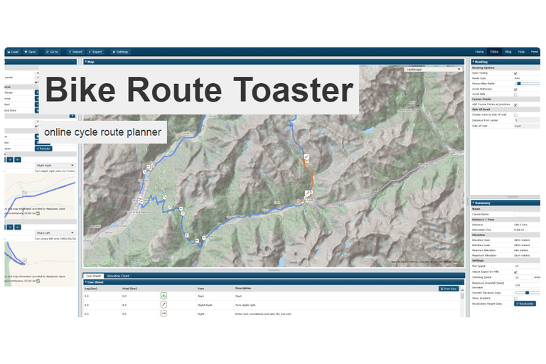 Bike Route Toaster website