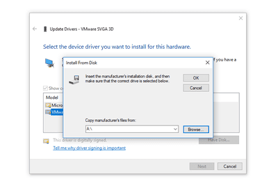 Screenshot of the Update Driver Wizard in Windows 10