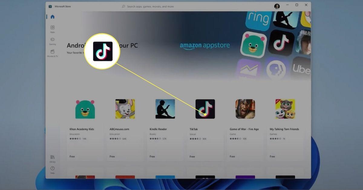 TikTok app icon in Microsoft Store.