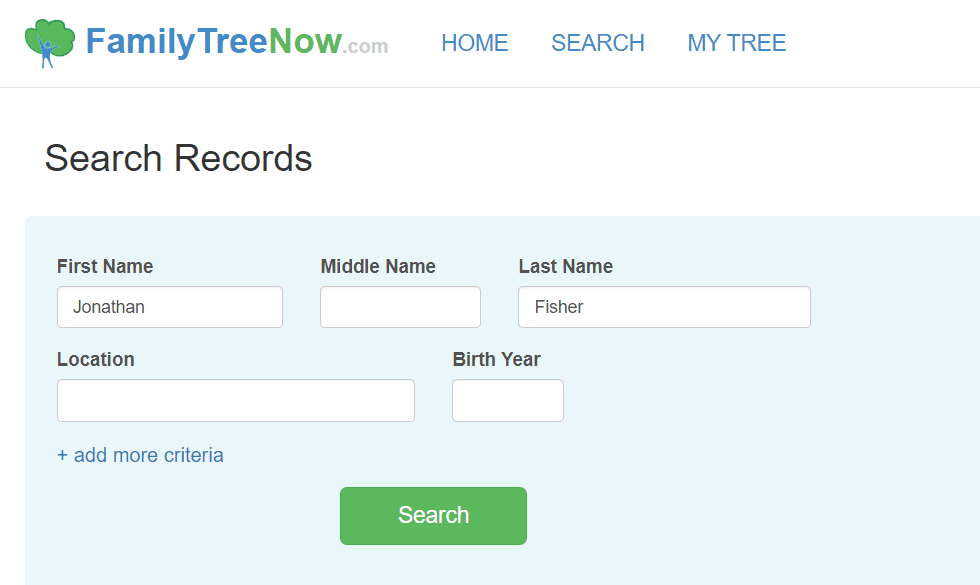 Family Tree Now records search