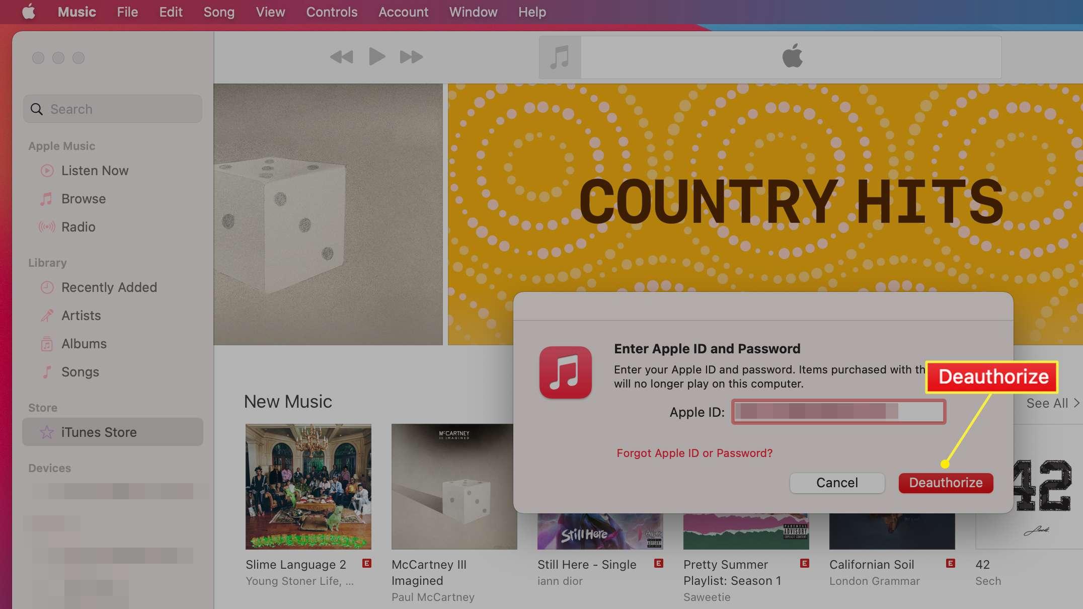 Music app Deauthorize this Computer option