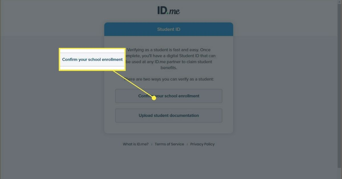 ID.me Student ID confirmation page.