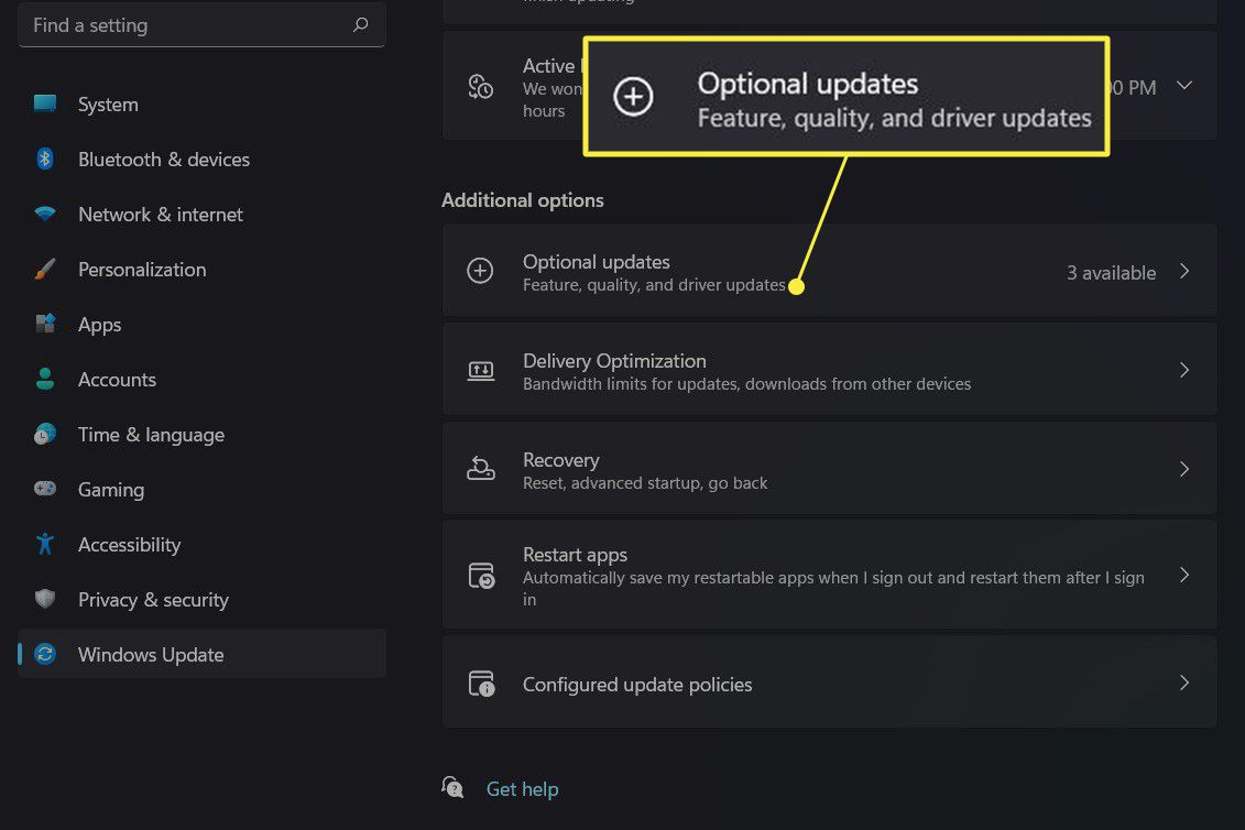 Windows Update with Optional Updates highlighted