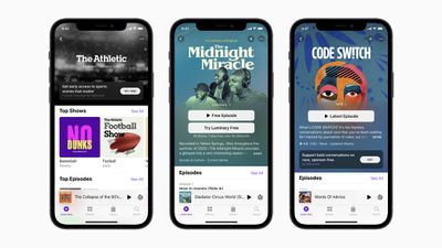 Three iPhones displaying the cover art for three different Apple Podcasts