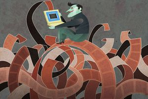 Illustration of a man holding a laptop while sitting on a pile of celluloid.