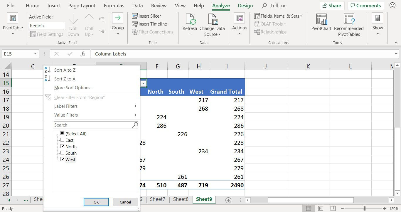 Showing how to filter pivot table data in Excel